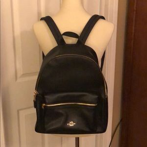 Coach Backpack - Black leather with gold accents